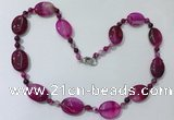 CGN217 22 inches 6mm round & 18*25mm oval agate necklaces