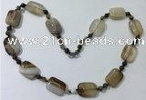 CGN231 22 inches 6mm round & 18*25mm rectangle agate necklaces