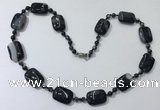 CGN240 22 inches 6mm round & 18*25mm rectangle agate necklaces