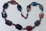 CGN241 22 inches 6mm round & 18*25mm rectangle agate necklaces