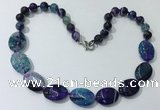 CGN255 20.5 inches 8mm round & 18*25mm oval agate necklaces