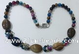 CGN281 18.5 inches 8mm round & 18*25mm flat teardrop agate beaded necklaces