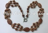 CGN292 24.5 inches chinese crystal & goldstone beaded necklaces