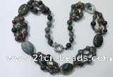 CGN296 24.5 inches chinese crystal & Indian agate beaded necklaces