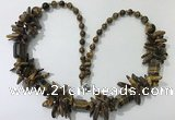 CGN308 27.5 inches chinese crystal & yellow tiger eye beaded necklaces