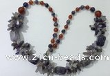 CGN310 27.5 inches chinese crystal & mixed gemstone beaded necklaces