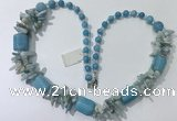 CGN311 27.5 inches chinese crystal & mixed gemstone beaded necklaces