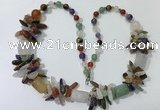 CGN318 27.5 inches chinese crystal & mixed gemstone beaded necklaces
