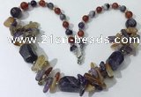 CGN331 20.5 inches chinese crystal & mixed gemstone beaded necklaces