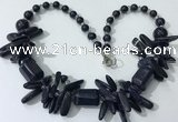 CGN340 20.5 inches chinese crystal & blue goldstone beaded necklaces