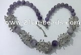 CGN351 19.5 inches chinese crystal & light amethyst beaded necklaces