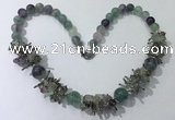 CGN353 19.5 inches chinese crystal & fluorite beaded necklaces