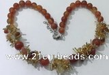 CGN355 19.5 inches chinese crystal & red agate beaded necklaces