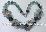 CGN371 19.5 inches round & chips fluorite beaded necklaces