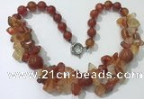 CGN372 19.5 inches round & chips red agate beaded necklaces