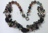 CGN376 19.5 inches round & chips mixed gemstone beaded necklaces