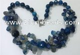 CGN379 19.5 inches round & chips blue agate beaded necklaces