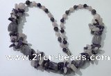 CGN386 23 inches chinese crystal & mixed quartz beaded necklaces