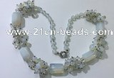 CGN388 23 inches chinese crystal & opal beaded necklaces