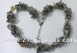 CGN409 19.5 inches chinese crystal & grey agate chips beaded necklaces