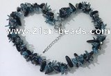 CGN413 19.5 inches chinese crystal & black agate chips beaded necklaces