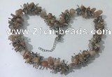 CGN415 19.5 inches chinese crystal & moonstone chips beaded necklaces