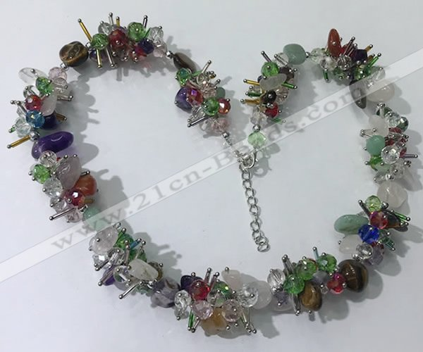 CGN417 19.5 inches chinese crystal & mixed gemstone chips beaded necklaces