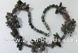 CGN453 25.5 inches chinese crystal & Indian agate beaded necklaces