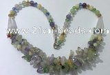 CGN460 22 inches chinese crystal & mixed quartz beaded necklaces