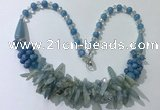 CGN462 22 inches chinese crystal & mixed gemstone beaded necklaces