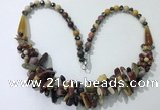 CGN463 22 inches chinese crystal & mookaite beaded necklaces