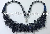 CGN465 22 inches chinese crystal & blue goldstone beaded necklaces