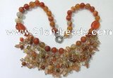 CGN480 21.5 inches chinese crystal & striped agate beaded necklaces