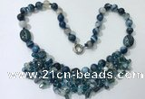 CGN483 21.5 inches chinese crystal & striped agate beaded necklaces