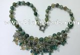 CGN484 21.5 inches chinese crystal & striped agate beaded necklaces