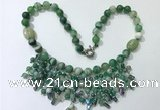 CGN485 21.5 inches chinese crystal & striped agate beaded necklaces
