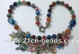 CGN488 21.5 inches chinese crystal & striped agate beaded necklaces