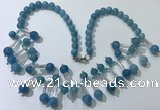 CGN502 21 inches chinese crystal & blue sponge quartz beaded necklaces