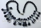 CGN504 21 inches chinese crystal & blue goldstone beaded necklaces