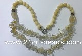 CGN517 23.5 inches chinese crystal & mixed gemstone beaded necklaces