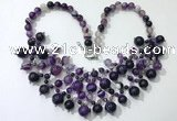 CGN569 19.5 inches stylish 4mm - 12mm striped agate beaded necklaces