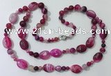CGN584 23.5 inches striped agate gemstone beaded necklaces