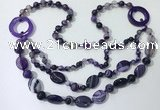 CGN597 23.5 inches striped agate gemstone beaded necklaces