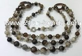 CGN611 24 inches chinese crystal & striped agate beaded necklaces