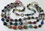 CGN614 24 inches chinese crystal & striped agate beaded necklaces