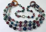 CGN632 24 inches chinese crystal & striped agate beaded necklaces