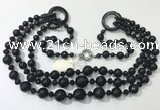 CGN642 24 inches chinese crystal & striped agate beaded necklaces