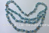 CGN655 22 inches chinese crystal & striped agate beaded necklaces