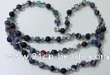 CGN662 22 inches chinese crystal & striped agate beaded necklaces