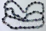 CGN663 22 inches chinese crystal & striped agate beaded necklaces